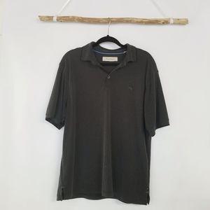 Tommy Bahama Short Sleeve Dark Gray Polo Top L